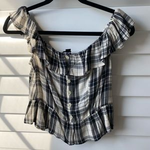 American Eagle Off-White and Black Check Too